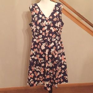 NWT Lane Bryant Navy floral fit & flare dress, 16